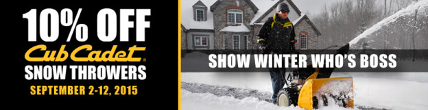 cub cadet 10% off at Suburban Lawn Equipment