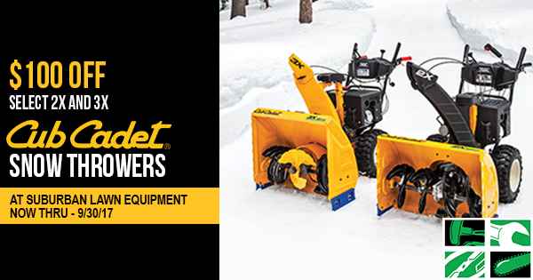 Save Big On Cub Cadet Snow Throwers at Suburban Lawn Equipment