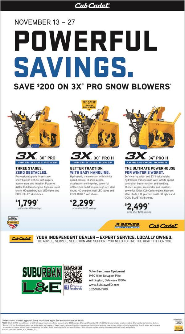 Cub Cadet Holiday Deals Delaware