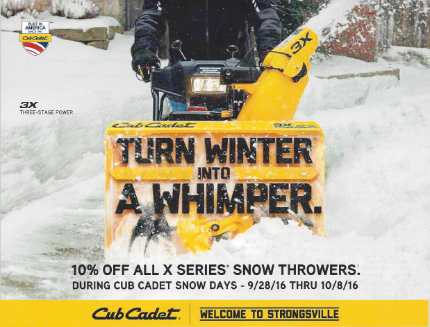 cub cadet snow days