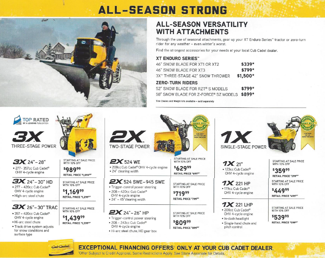 cub cadet snow days special